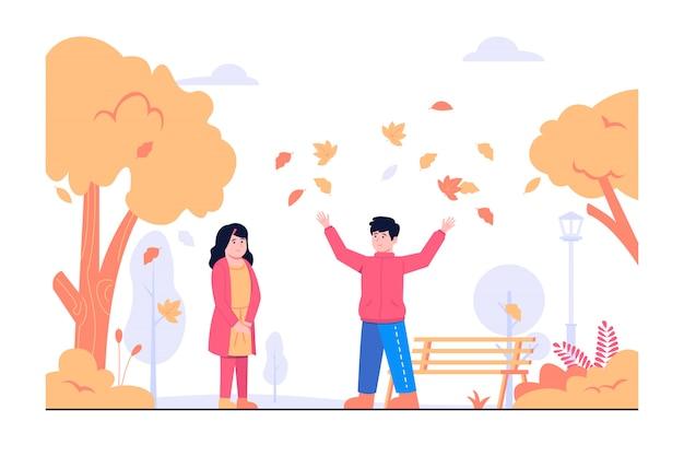 Bambini che giocano in autunno concetto illustrazione
