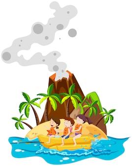 Bambini che giocano a banana boat