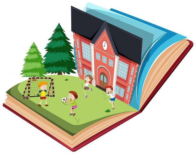 Bambini che giocano a calcio sul modello di libro aperto