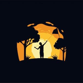Bambini che giocano aquiloni silhouette illustrazione