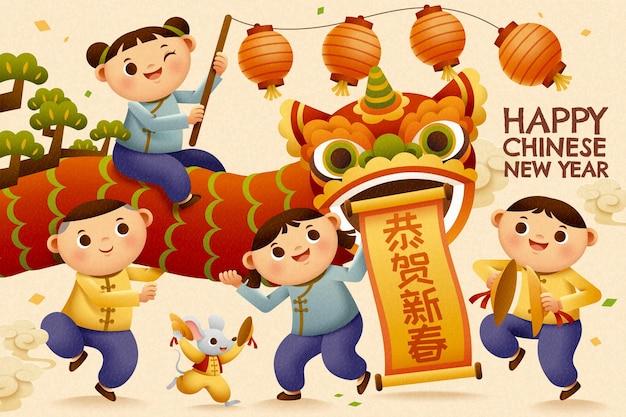 Bambini che giocano la danza del leone vivace per l'anno lunare