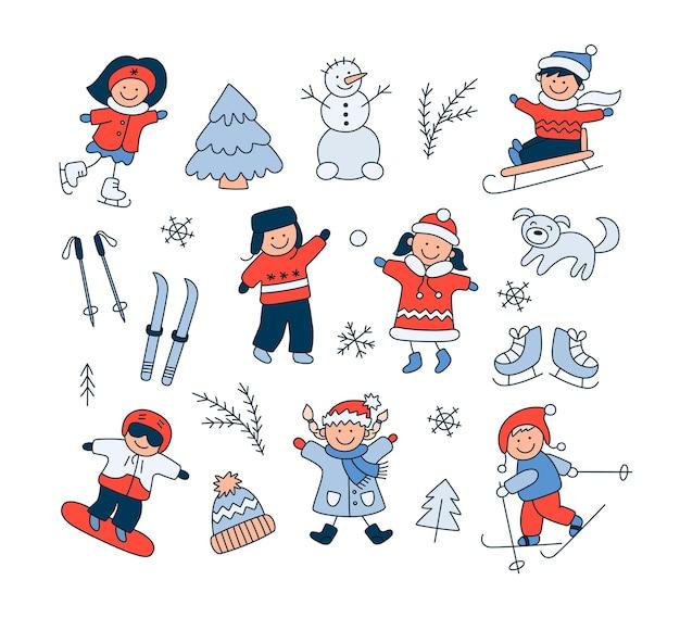 Bambini che giocano sulla neve, slittino, sci, pattinaggio, snowboard e set di oggetti invernali scarabocchiati. pupazzo di neve disegnato a mano, sci, pattini, cane. illustrazione vettoriale su sfondo bianco