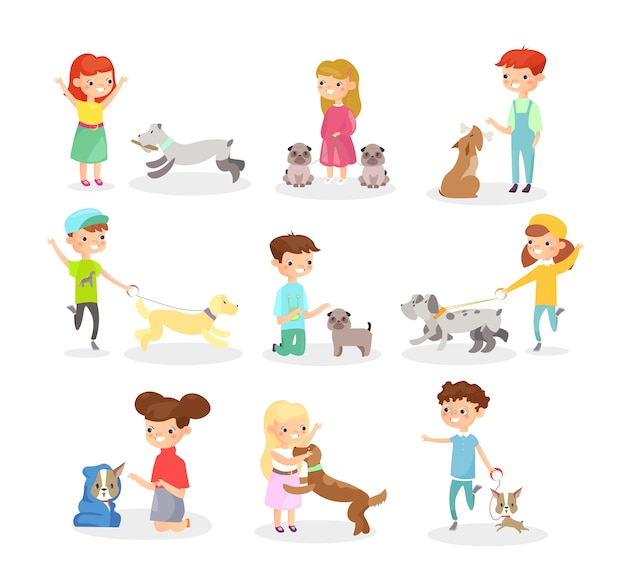 Bambini che giocano con i cani. ragazzi e ragazze felici che giocano con il cane, animali domestici