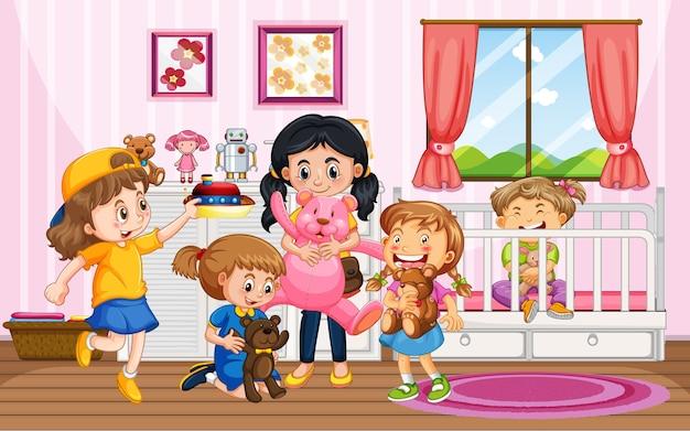 Bambini che giocano con i loro giocattoli nella scena domestica