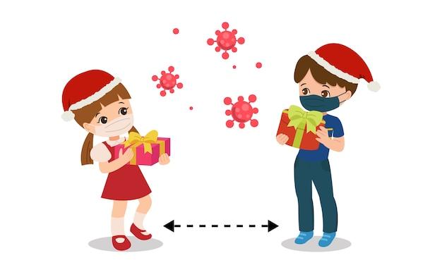 I bambini praticano l'allontanamento sociale celebrando la festa di natale. stai al sicuro dal virus corona