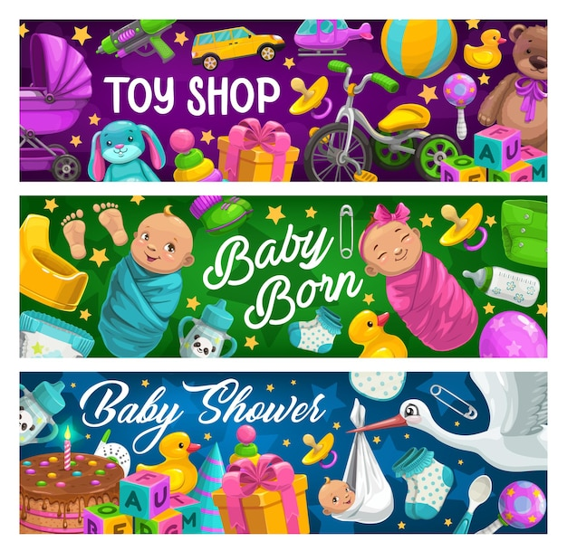 Prodotti per bambini e banner negozio di giocattoli