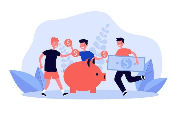 Bambini che mettono monete e banconote nel salvadanaio. ragazzi del fumetto che risparmiano soldi nell'illustrazione piana di vettore del salvadanaio. finanze, economia, concetto educativo per banner, design di siti web o landing page