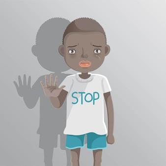 Ragazzo di razzismo dei bambini. segnale di stop boyl africano.