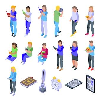 Bambini che leggono set di icone. insieme isometrico di bambini che leggono le icone per il web