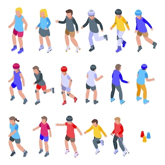Set di icone di bambini con i rollerblade. insieme isometrico delle icone dei bambini che pattinano per il web