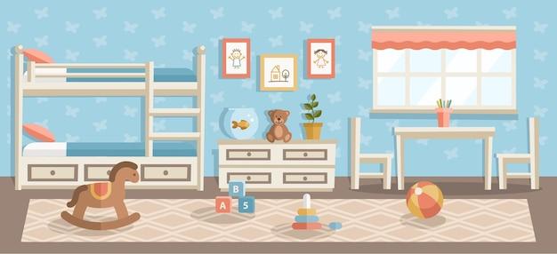 Illustrazione piana della stanza dei bambini, scuola materna, interior design moderno dell'asilo, pallone da spiaggia, giocattoli per bambini piramide in camera da letto, disegni di bambini appesi alla parete blu e tappeto beige sul pavimento di legno