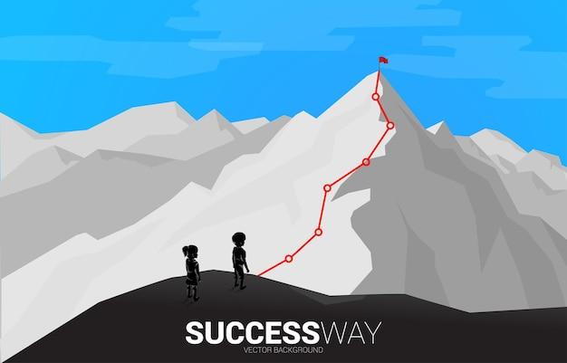 Bambini e percorso verso la cima della montagna. concetto di obiettivo, missione, visione, percorso di carriera, concetto di vettore stile linea di collegamento a punti poligonali