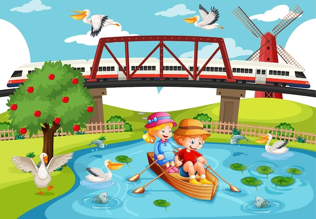 I bambini remano sulla barca nella scena della città del torrente