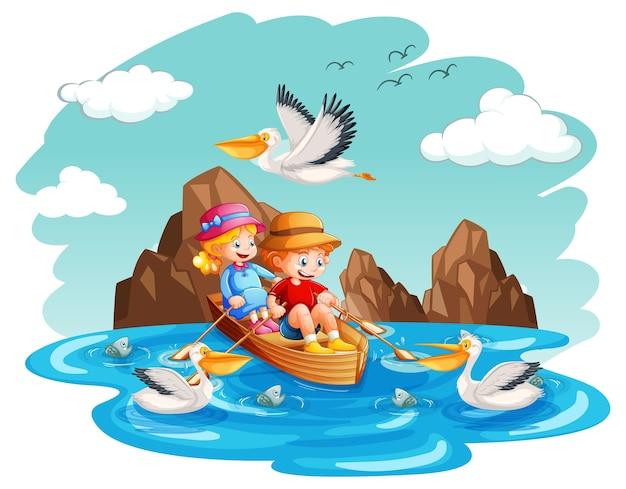I bambini remano la barca nel flusso su sfondo bianco