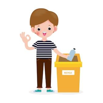 Rifiuti di bambini per il riciclaggio, bambini che separano i rifiuti, rifiuti di riciclaggio