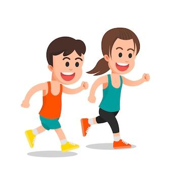 I bambini corrono insieme per l'allenamento sportivo