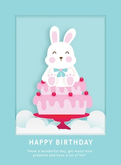 Modello di carta di compleanno per bambini con simpatico coniglietto.