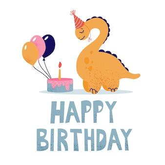 Biglietto d'auguri per bambini con dinosauro. un dinosauro esprime il desiderio di spegnere la candelina sulla torta.