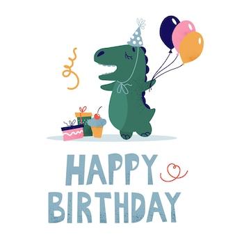Biglietto d'auguri per bambini con un dinosauro con un cappello festivo. dino con un palloncino, regali e una torta.