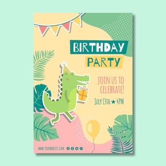Volantino di compleanno per bambini verticale Vettore Premium