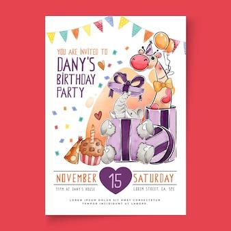 Volantino di compleanno per bambini verticale