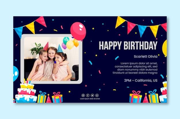 Modello di banner orizzontale di compleanno per bambini