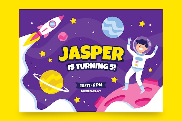 Modello di invito di compleanno per bambini con l'astronauta