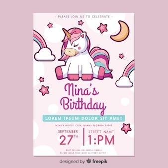 Modello di invito di compleanno per bambini con unicorno