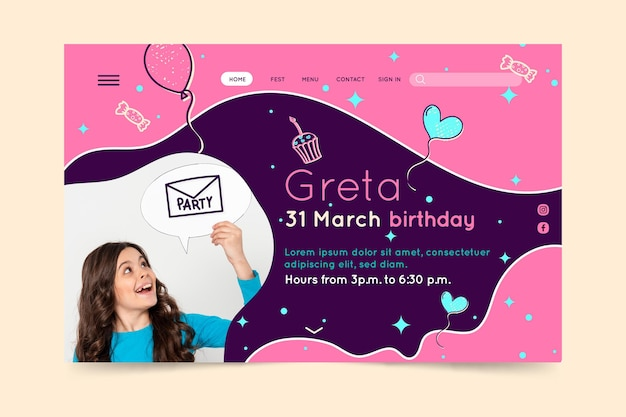 Pagina di destinazione del compleanno dei bambini