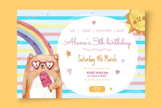 Pagina di destinazione del compleanno dei bambini Vettore Premium