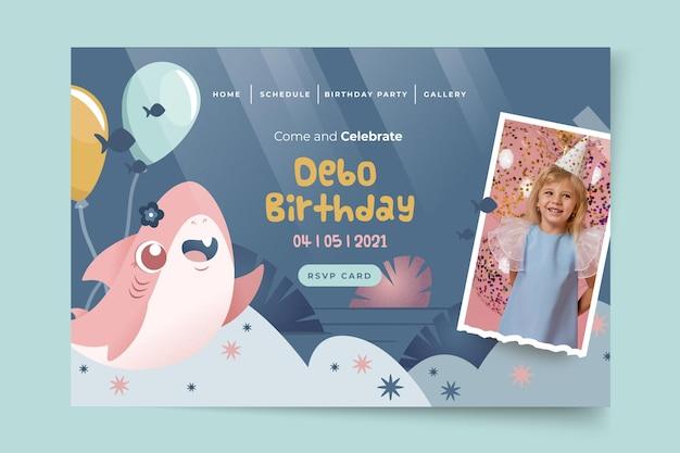 Modello di pagina di destinazione dello squalo compleanno per bambini