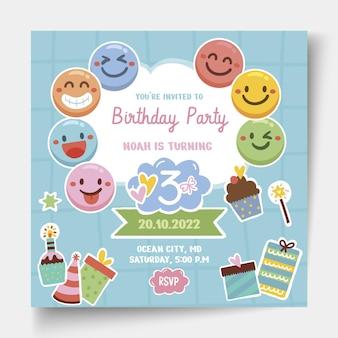Modello di volantino quadrato di compleanno per bambini