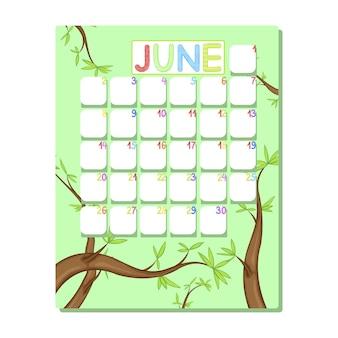 Calendario per bambini per giugno con alberi verdi in stile cartone animato.