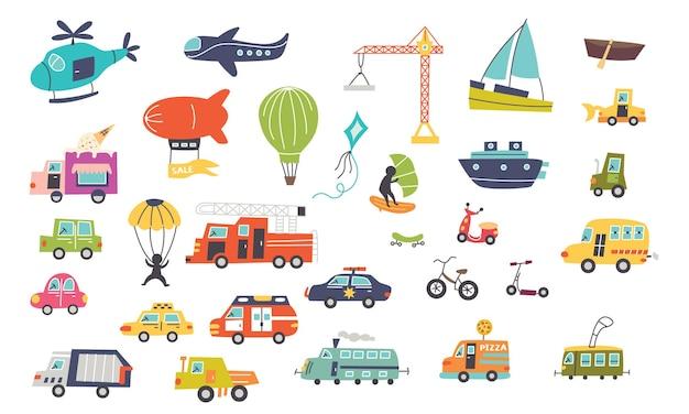 Set trasporto auto per bambini. progettazione della scuola materna per il creatore di mappe. illustrazione vettoriale