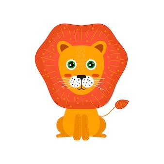 Animale dei cartoni animati dei bambini. leone carino per i bambini.