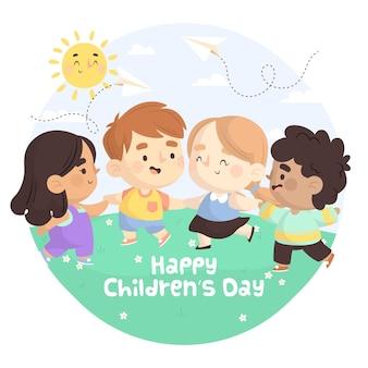 Giornata dei bambini in design piatto Vettore Premium
