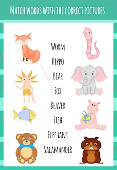 Gioco educativo per bambini per abbinare l'oggetto e la parola. stile cartone animato. illustrazione vettoriale.