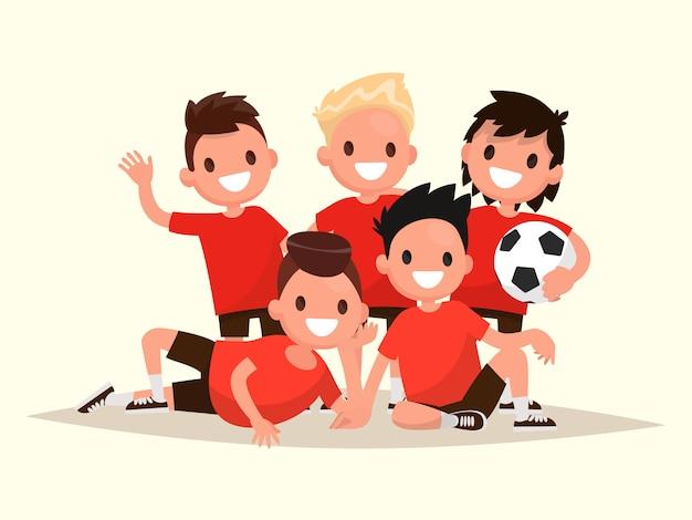Squadra di calcio per bambini. ritratto di giovani calciatori.