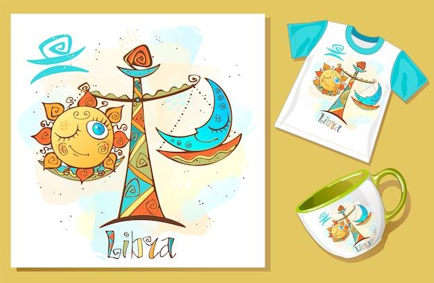Icona oroscopo per bambini. zodiac per bambini. segno di bilancia