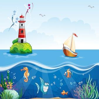 Illustrazione per bambini con faro e barca a vela. sul fondo del mare e pesci divertenti