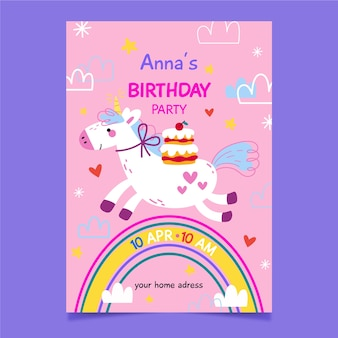 Invito alla festa per bambini e unicorno
