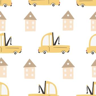 Modello per bambini con automobili. macchine. trasporto. stampa digitale senza cuciture a colori disegnata a mano di vettore