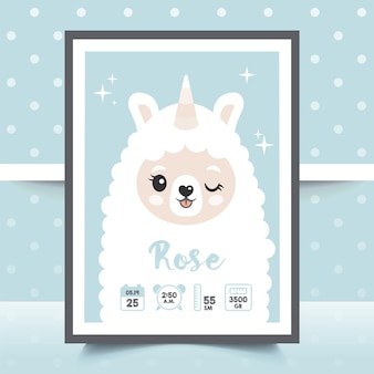 Poster per bambini, altezza, peso, data di nascita. lama, lama, alpaca, unicorno. illustrazione vettoriale. llustration metrica neonatale per la cameretta dei bambini.