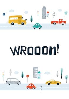 Poster per bambini con auto e scritte wrooom! in stile cartone animato. simpatiche illustrazioni per il design della cameretta dei bambini, cartoline, stampe per vestiti. vettore