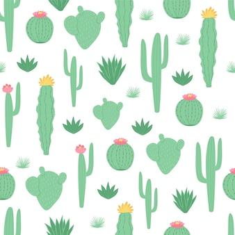 Modello senza cuciture per bambini con cactus in stile cartone animato
