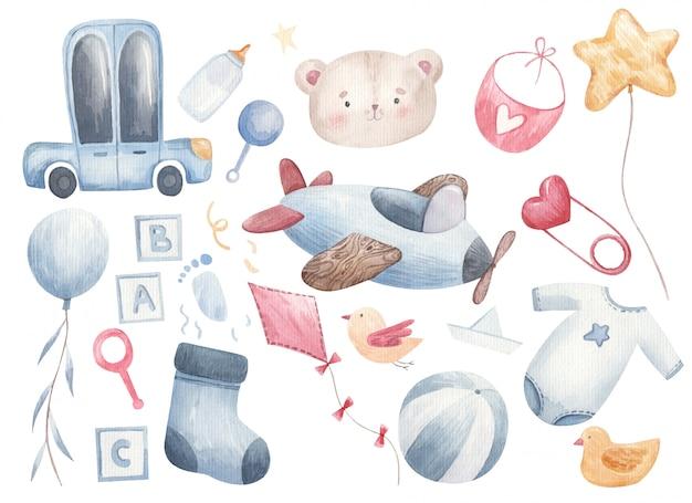 Set di cose per il bambino, automobili, calze, palline, palline, vestiti, ciuccio, biberon, bavaglino in acquerello