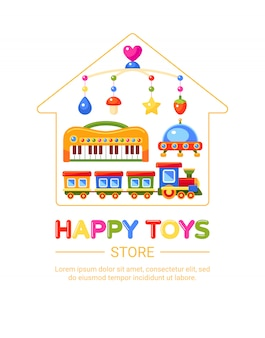 Emblema del negozio di giocattoli per bambini. mobile musicale per treno, pianoforte, ufo e presepe. illustrazione.