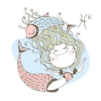 Zodiaco dei bambini il segno zodiacale pesci. sirenetta carina. Vettore Premium