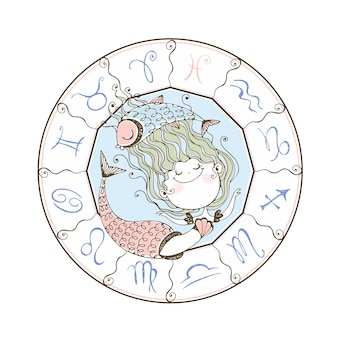 Zodiaco dei bambini. il segno zodiacale pesci. simpatica sirenetta ..