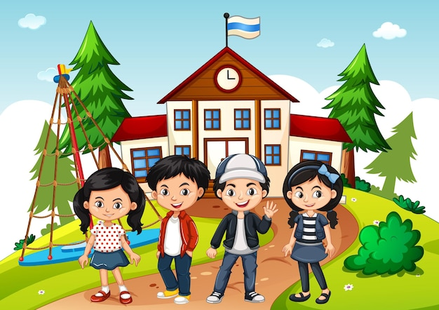 Bambini nella scena scolastica